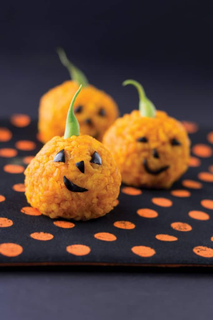 Carrot Rice Ball Jack O' Lantern Bites