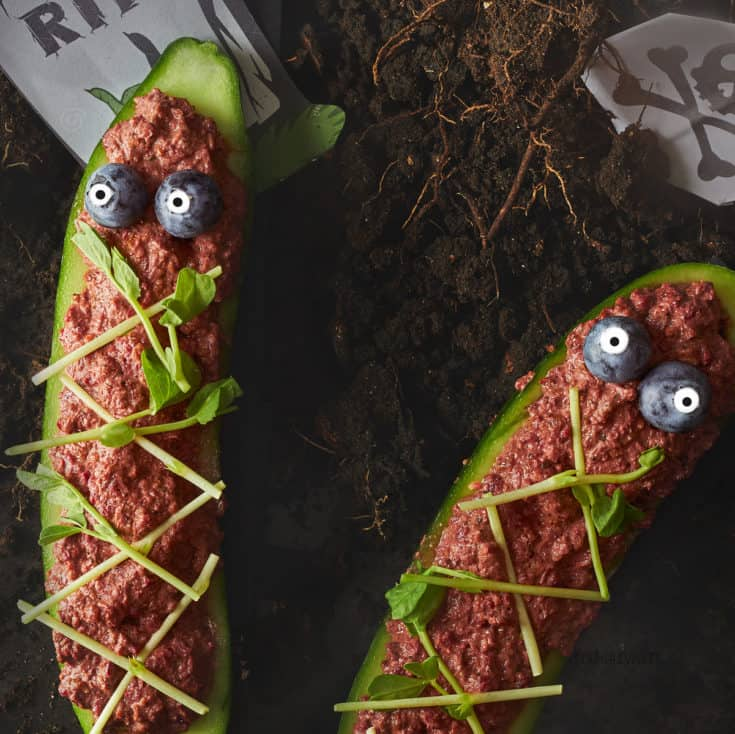 Spooky Raw Cucumber Coffins