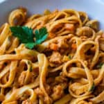 Vegan Bolognese Pasta Recipe with Soy Curls