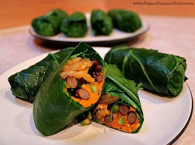 Vegan Collard Wraps with Kimchi and Sweet Potatoes