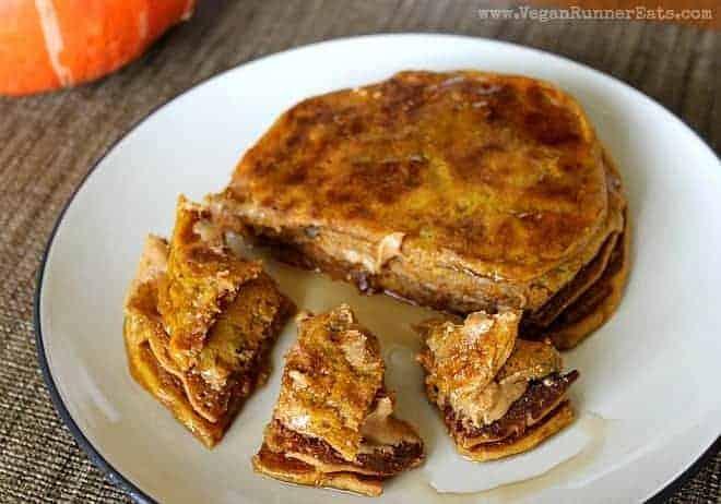 Vegan pumpkin pancakes with carrots