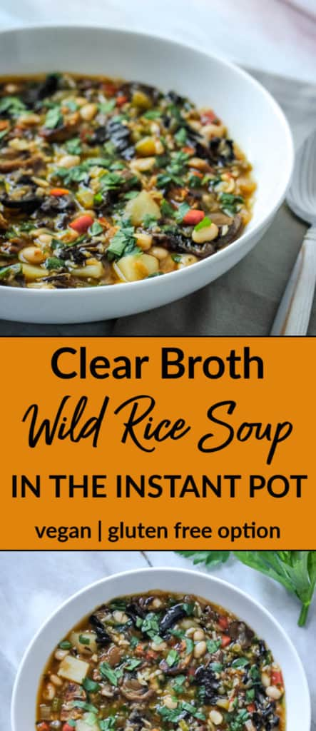 Vegan clear broth wild rice soup in the Instant Pot