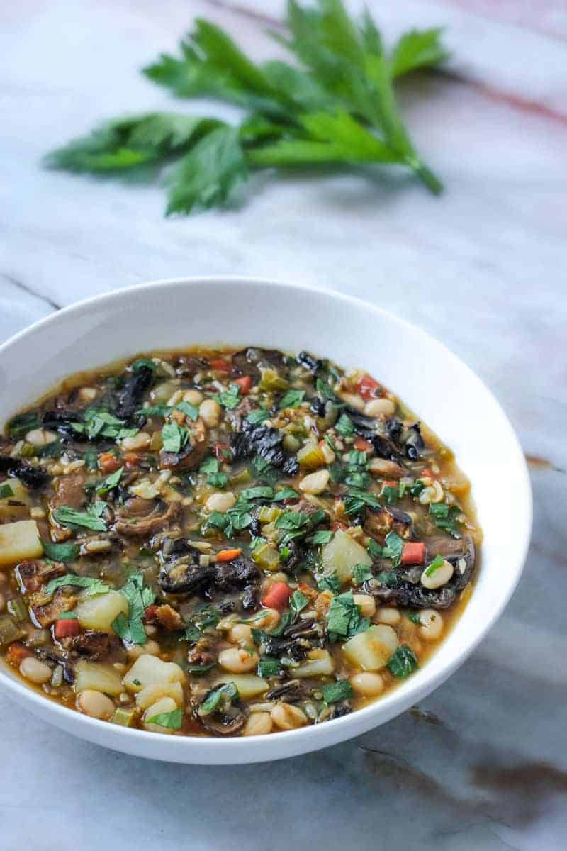 Instant Pot vegan wild rice soup with mushrooms and vegan sausage - a dairy free, meat free, egg free recipe with a gluten free option.