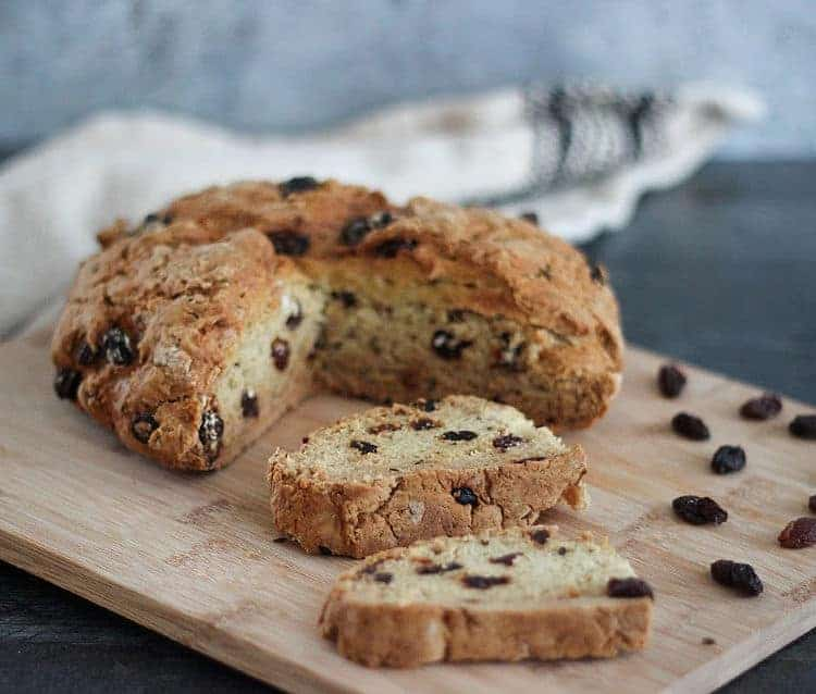 Easy vegan recipe for Irish soda bread with raisins and caraway seeds.
