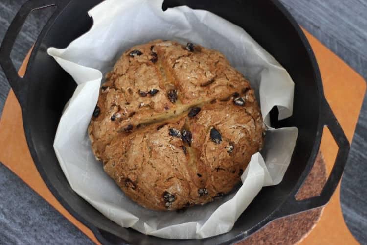 What vegan Irish soda bread baked in a cast iron Dutch oven looks like.