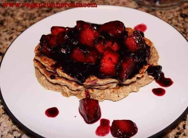 Vegan Oatmeal-Banana Pancakes with Quick Blueberry-Peach Compote
