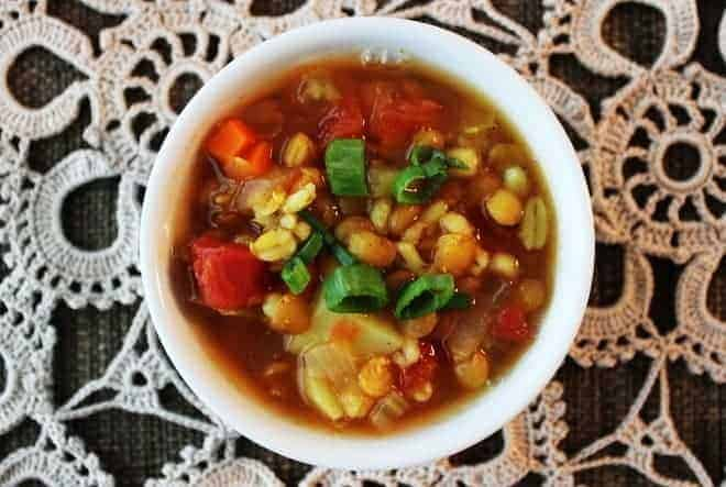 Vegan Barley Soup with Lentils and Potatoes