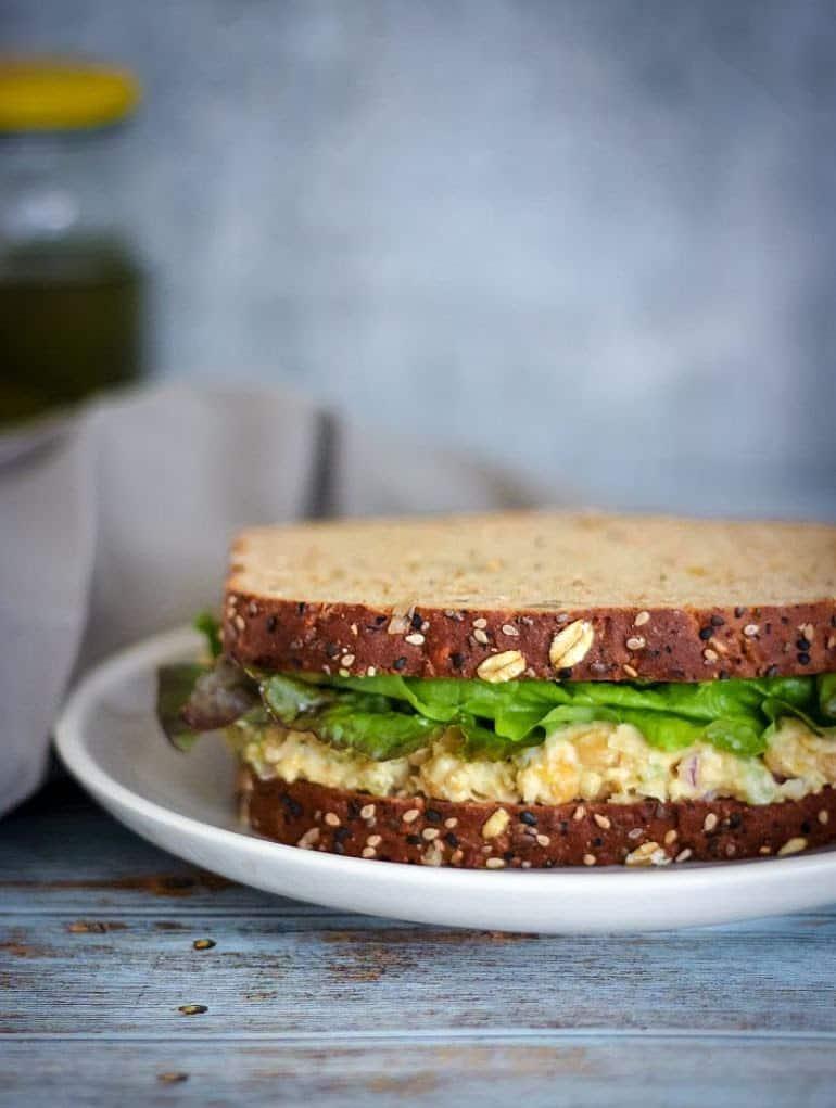 5 ingredient chickpea salad sandwich recipe