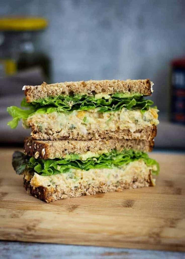 Easy chickpea salad sandwich recipe with only 5 ingredients