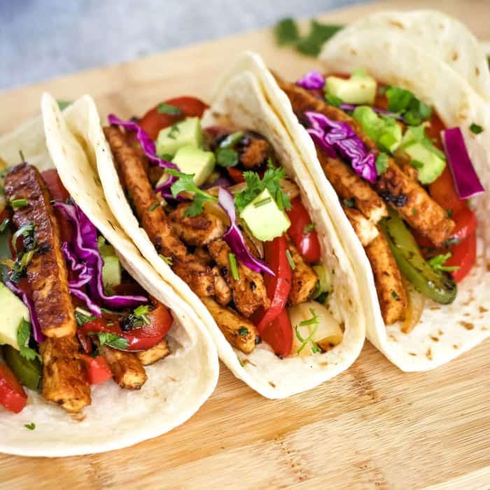 Vegan tofu tacos with fajita vegetables