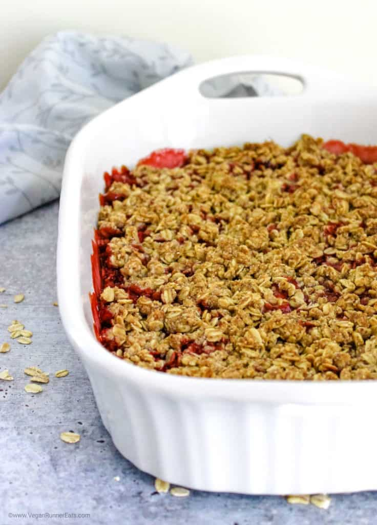 Vegan strawberry rhubarb crisp made with simple plant based ingredients