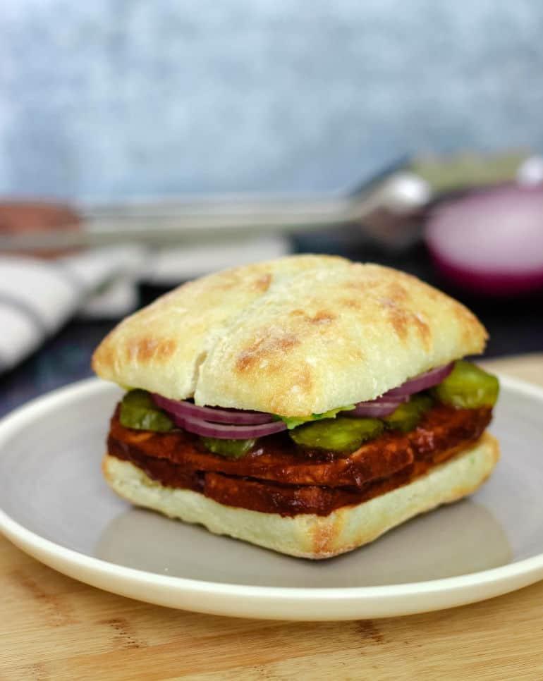 Vegan BBQ tofu recipe for a sandwich, bowl, wrap, etc.