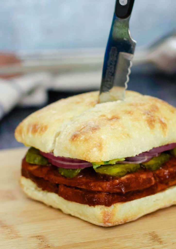 Easy baked BBQ tofu sandwich - a healthy vegan barbecue sandwich recipe