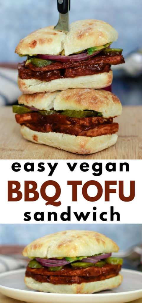Easy vegan BBQ tofu sandwich