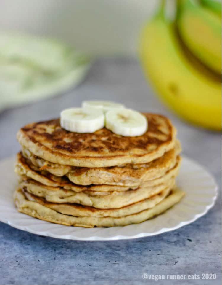5 ingredient vegan banana pancakes recipe - made in a single bowl with simple pantry ingredients.
