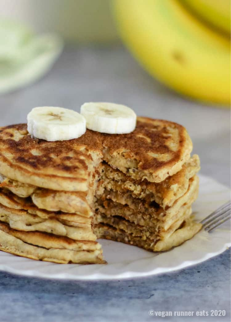 Easy vegan banana pancakes with chia seeds - made in a single bowl.