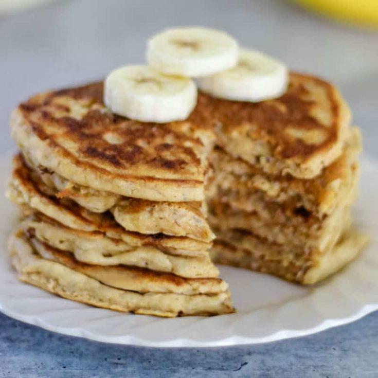 Easy vegan banana pancakes recipe - dairy free, egg free, added sugar free