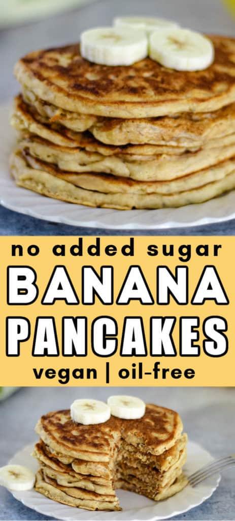 No added sugar banana pancakes - vegan, egg free, dairy free