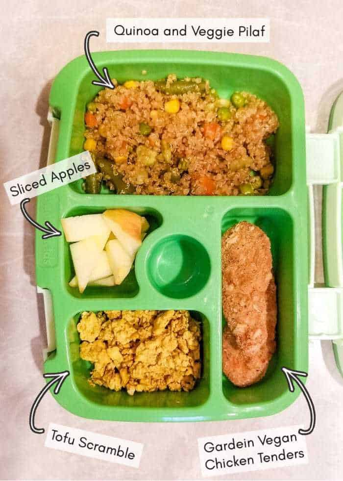 What I put into my vegan toddler's daycare lunchbox, example #18