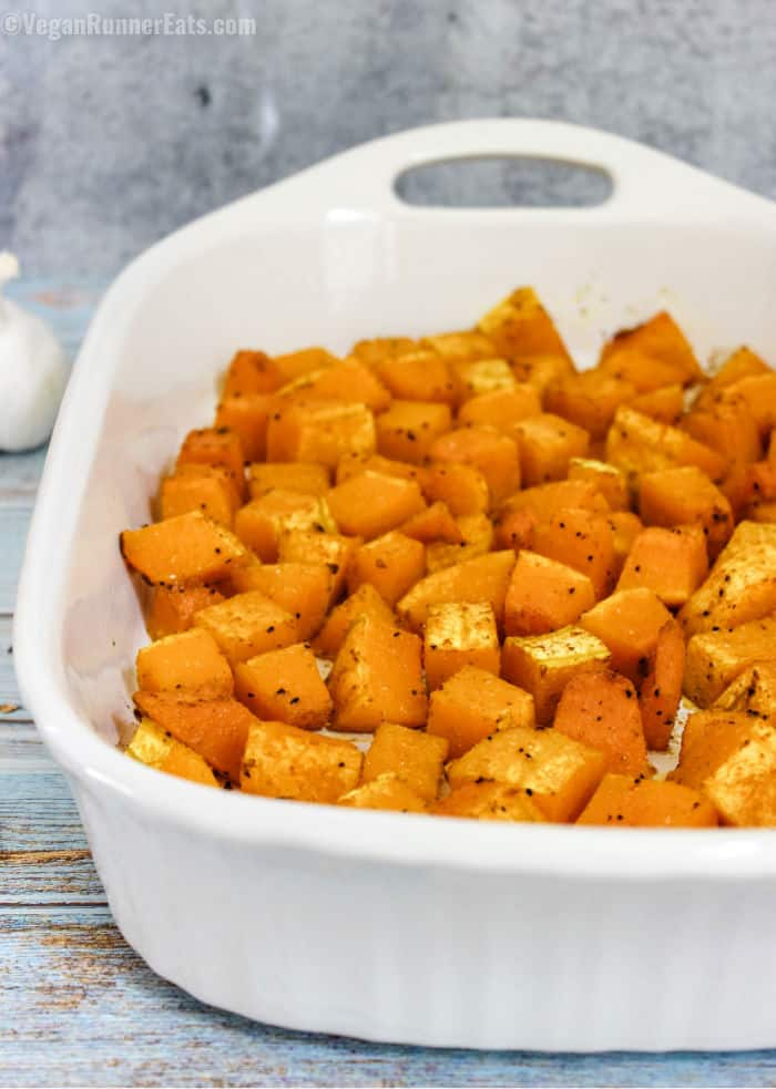 WFPB roasted butternut squash recipe with Indian or Italian-style spices