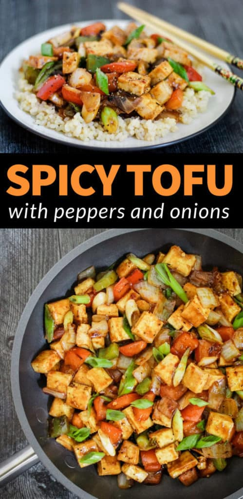 Spicy tofu recipe with peppers and onions