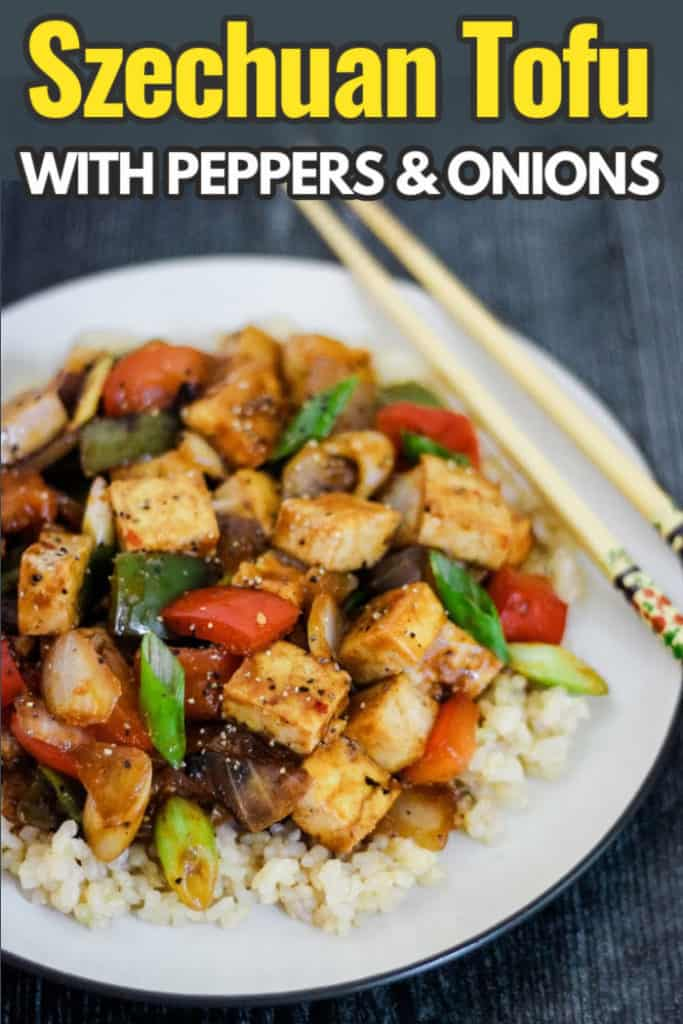 Vegan Szechuan tofu with peppers and onions