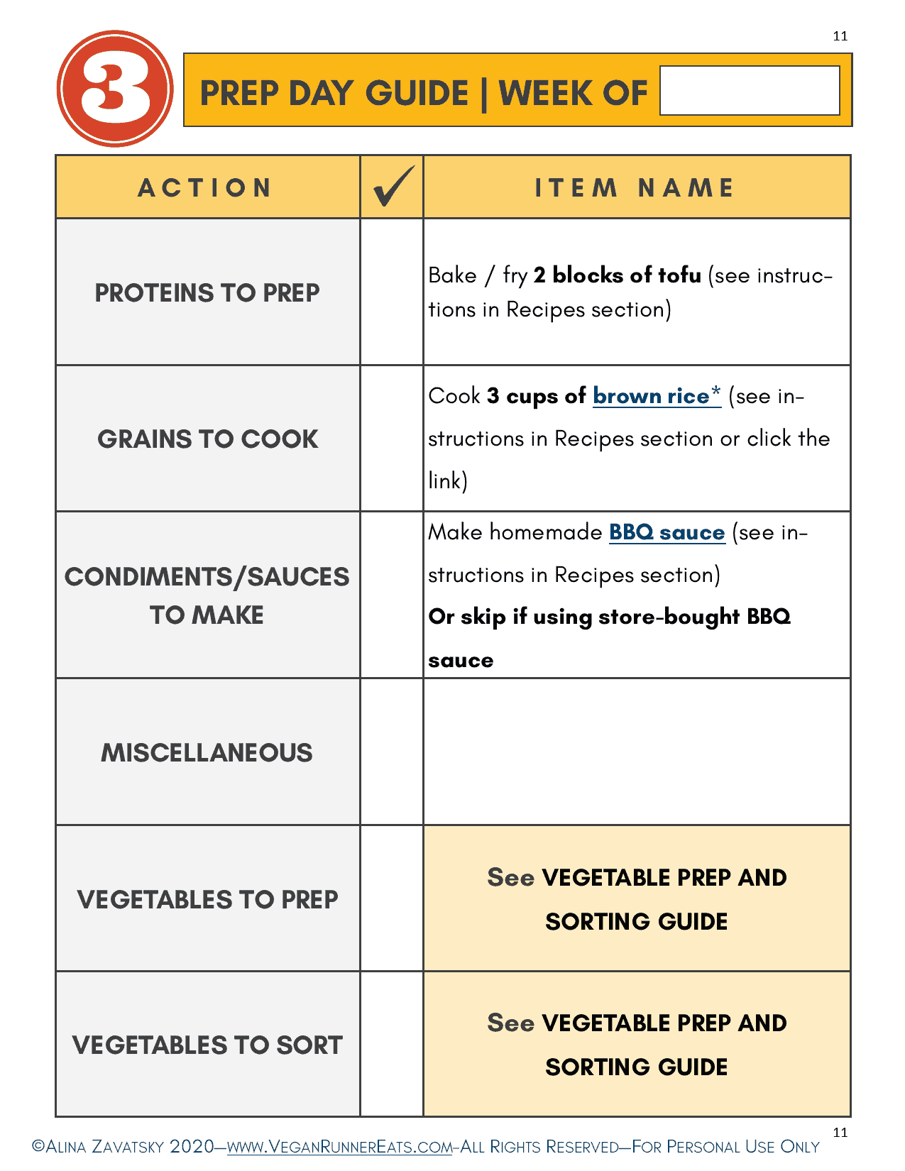 Weekly prep day guide