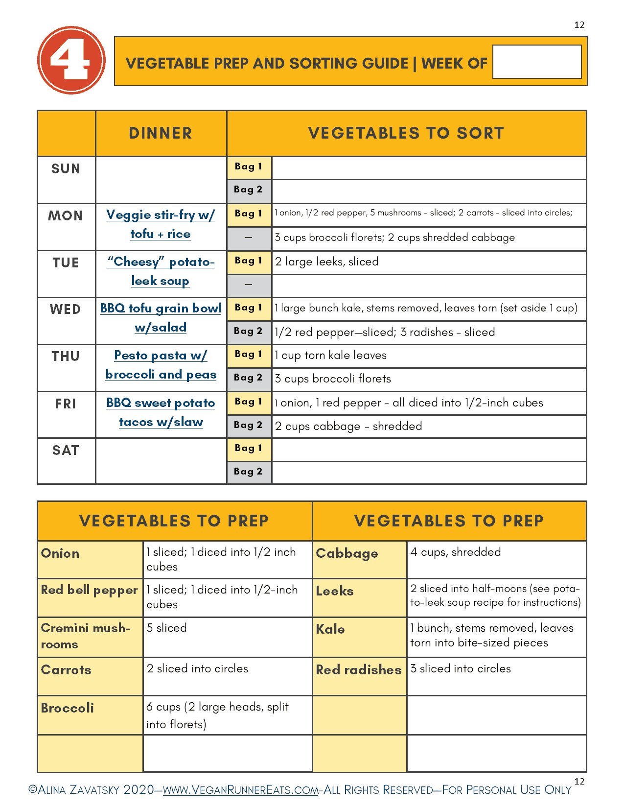 Vegetable Prep and Sorting Guide