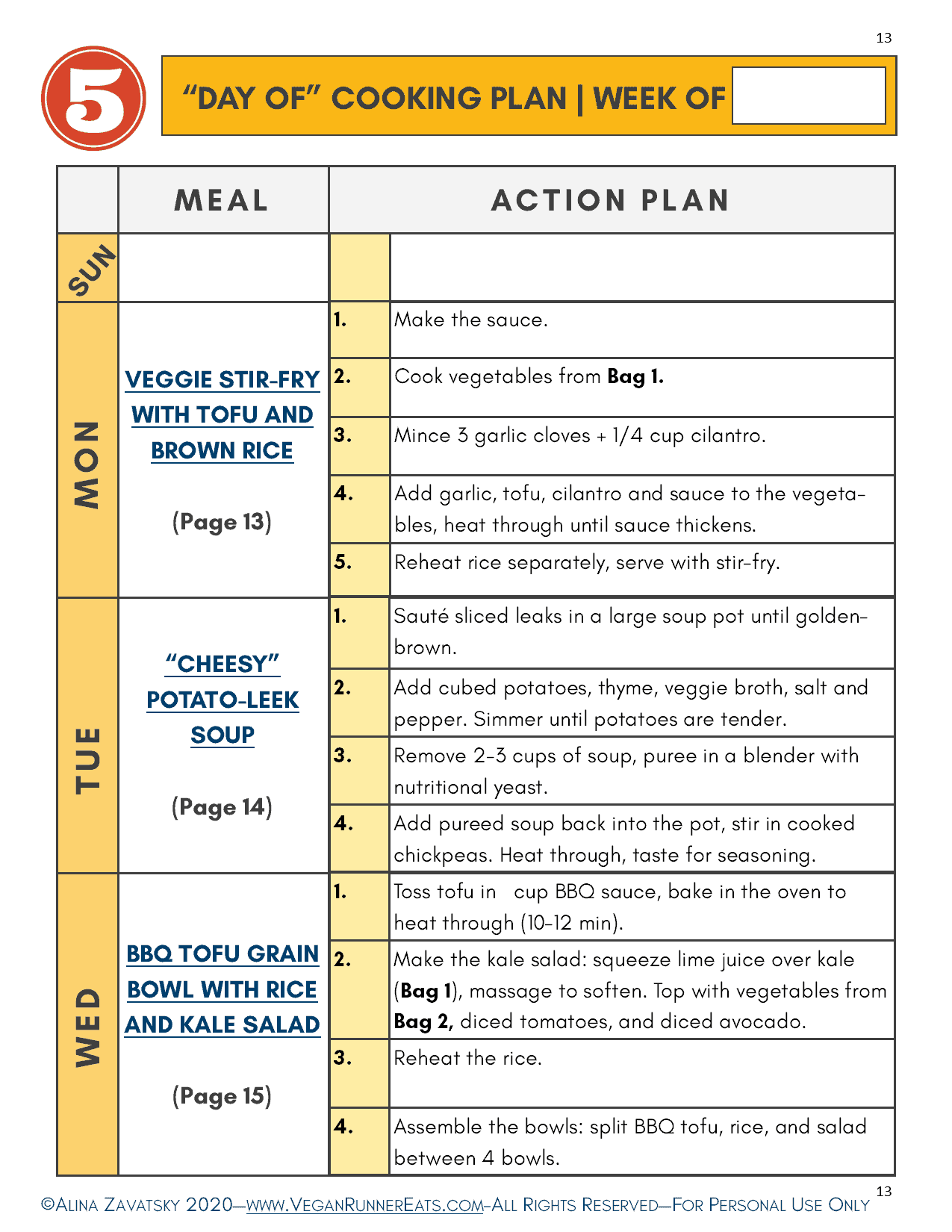Day of Cooking Plan