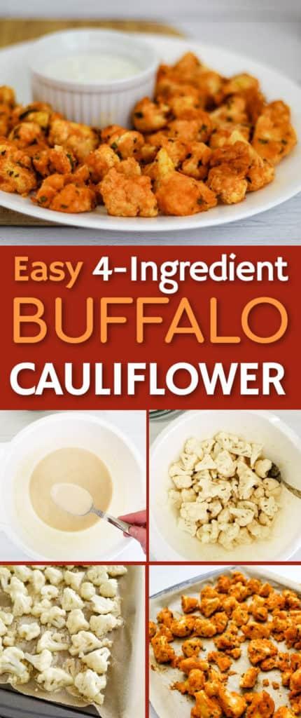 Easy vegan gluten free buffalo cauliflower - only 4 ingredients!