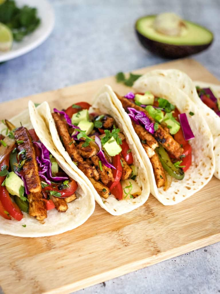 Vegan chipotle tofu tacos with vegetables
