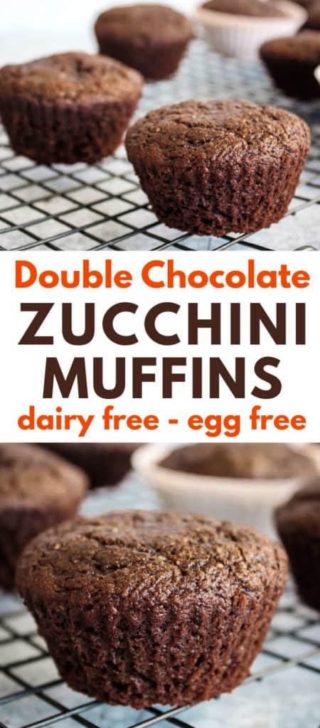 Double chocolate zucchini muffins recipe - vegan, dairy free, egg free, oil free