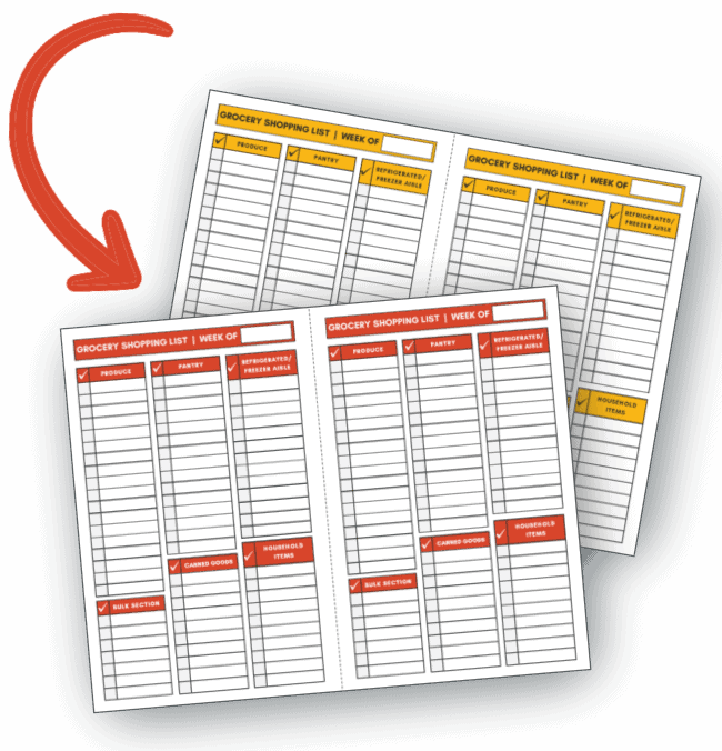 Printable Vegan Grocery Shopping List Templates (2 Color Versions)