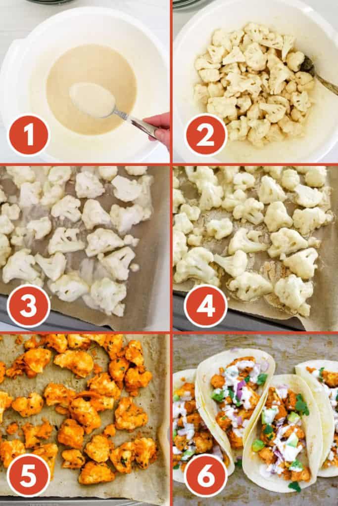 How to make vegan buffalo cauliflower tacos - step by step instructions