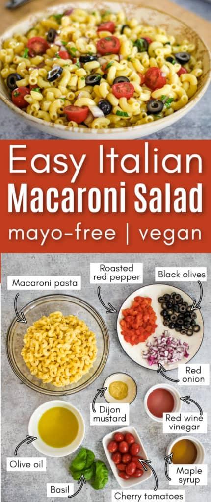 Easy Italian Macaroni Salad Recipe (mayo-free + vegan)
