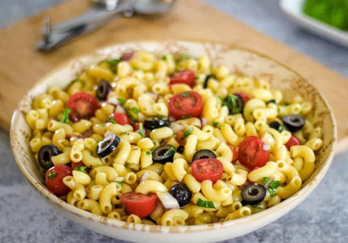 Vegan macaroni salad recipe - gluten free and oil free options