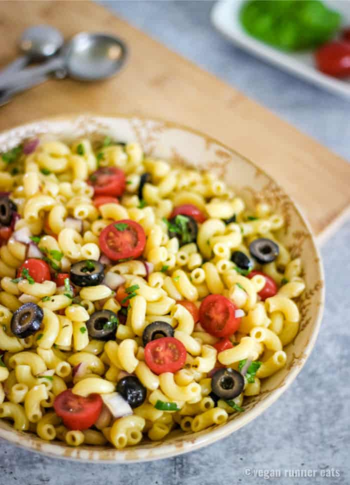 Vegan pasta salad Italian style