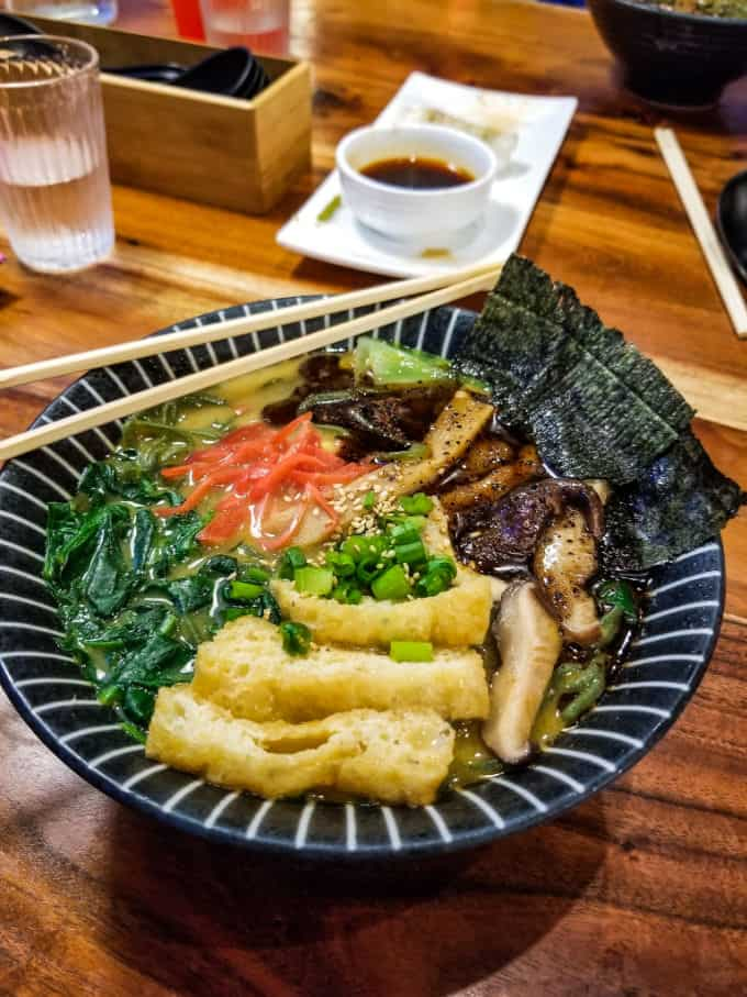 Vegan ramen at Ultra House on Whidbey Island