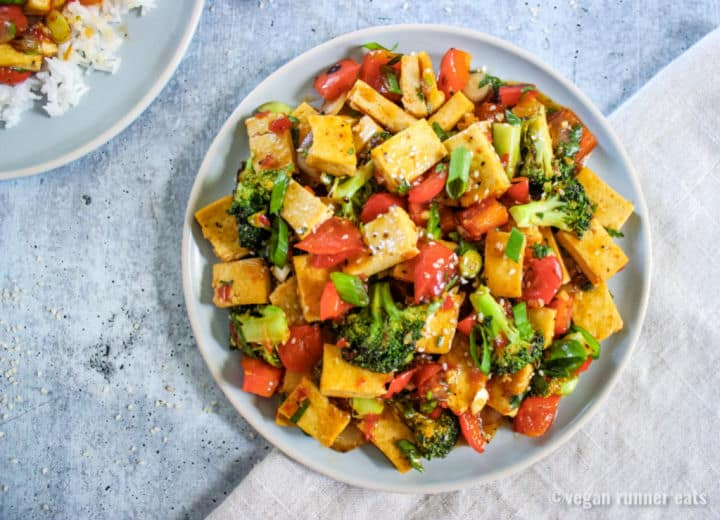 Sweet chili tofu stir fry vegan
