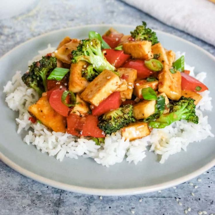 Vegan sweet chili tofu and vegetables