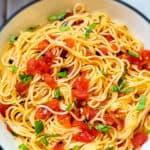 Easy Vegan Bruschetta Pasta (Capellini al Pomodoro)